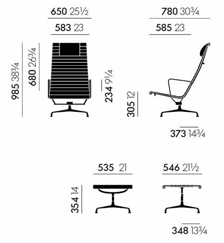 vitra-aluminium-chair-ea-124-ea-125-abmessungen