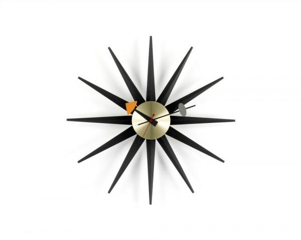Sunburst Clock Black Collection