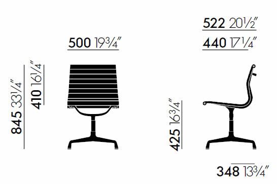 vitra-aluminium-chair-ea-101-abmessungen