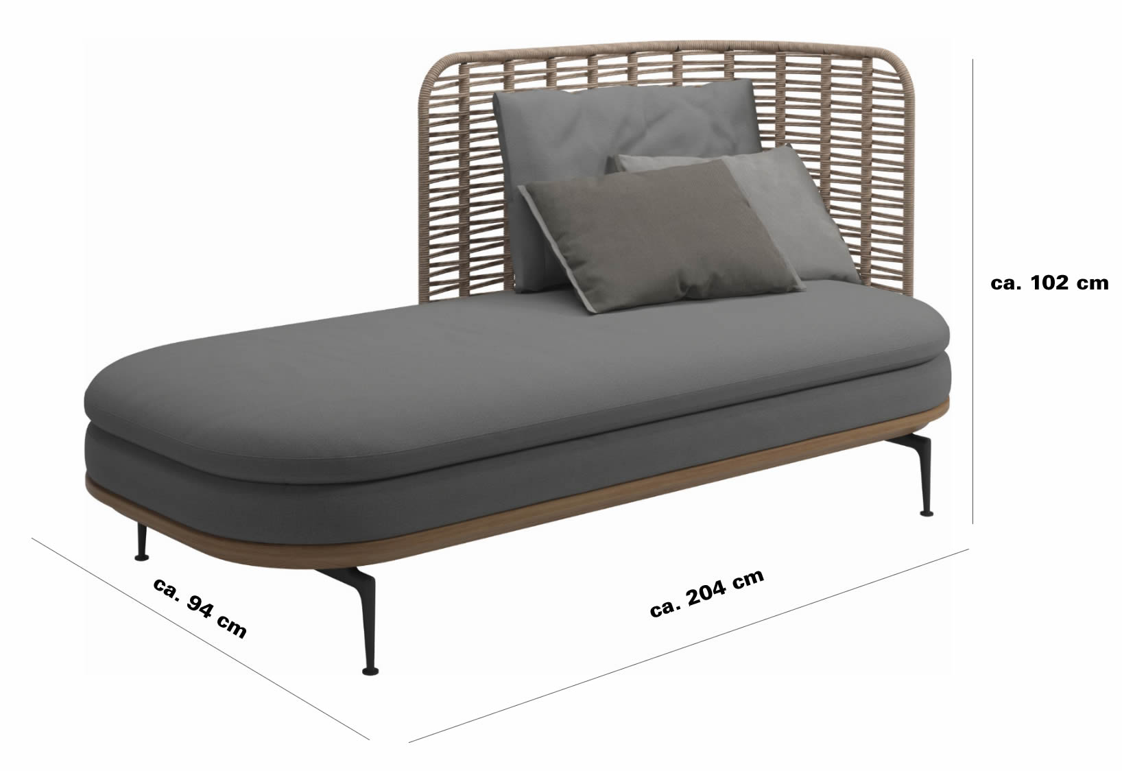 gloster-mistral-Right-Chaise-abmessungen