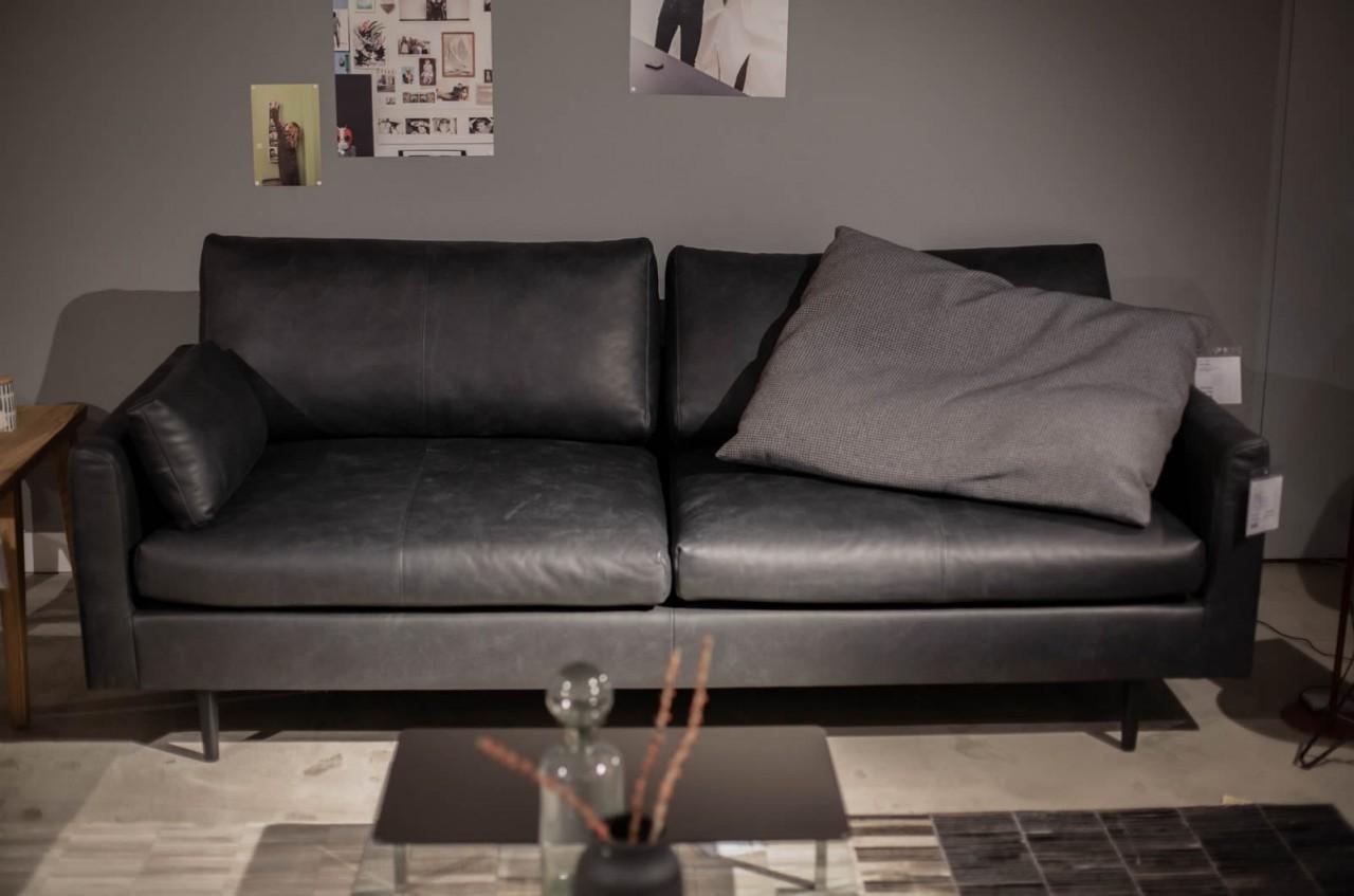Freistil Rolf Benz Sofa 134 Leder Schwarzgrau Ausstellungsstück