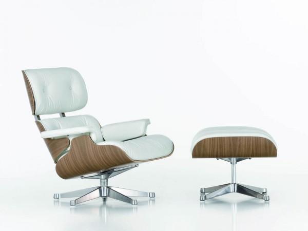 Lounge Chair groß & Ottoman white