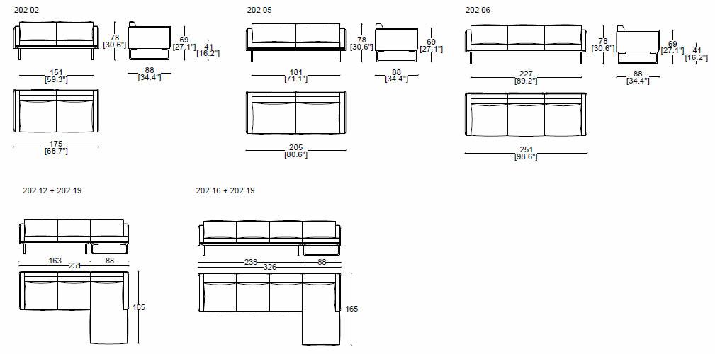cassina-8-otto-sofa-abmessungen