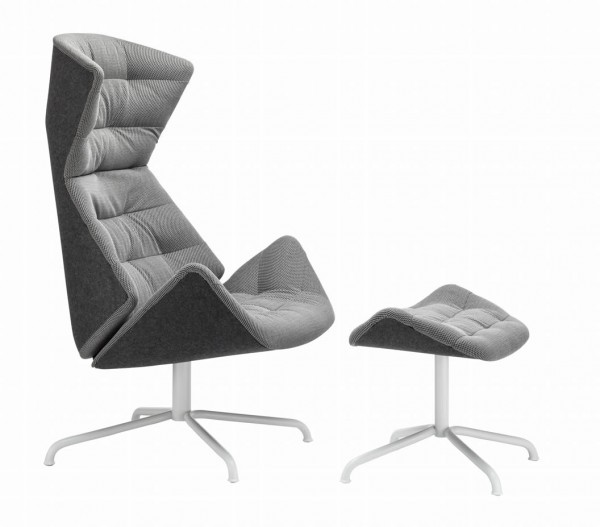 "Lounge Sessel 808 ""Grey"" mit Hocker"