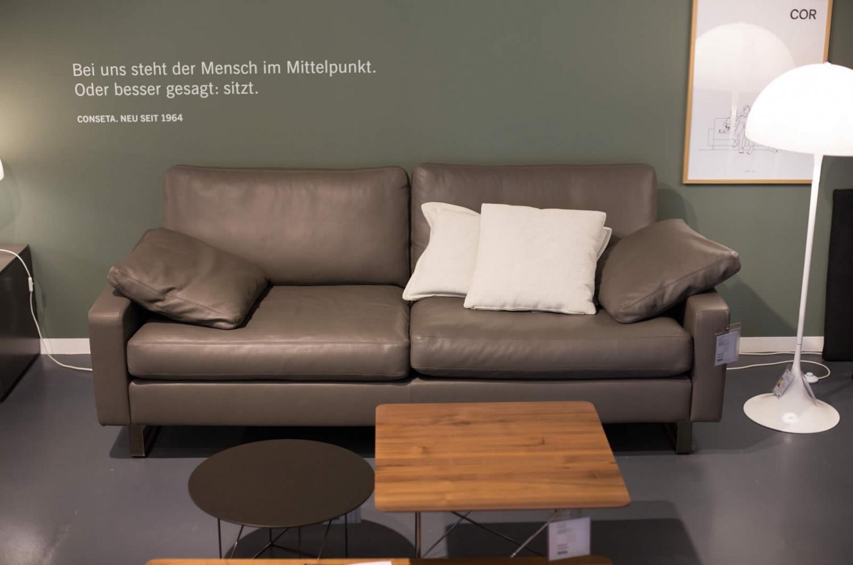 Details zu COR Sofa Conseta Leder trüffel Ausstellungsstück - LP 8.899,-EUR